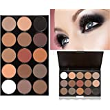 LyDia® 15 COLOURS EYESHADOW PALETTE Matte Smokey Eye Effect Neutral Nude/White Highlight/Brown/Black/Chocolate #2
