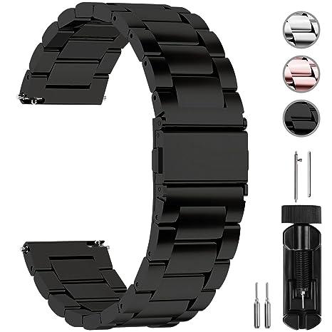 Fullmosa Correa Reloj de liberación rápida, Correa Reloj de Acero Inoxidable, Negro, 22mm