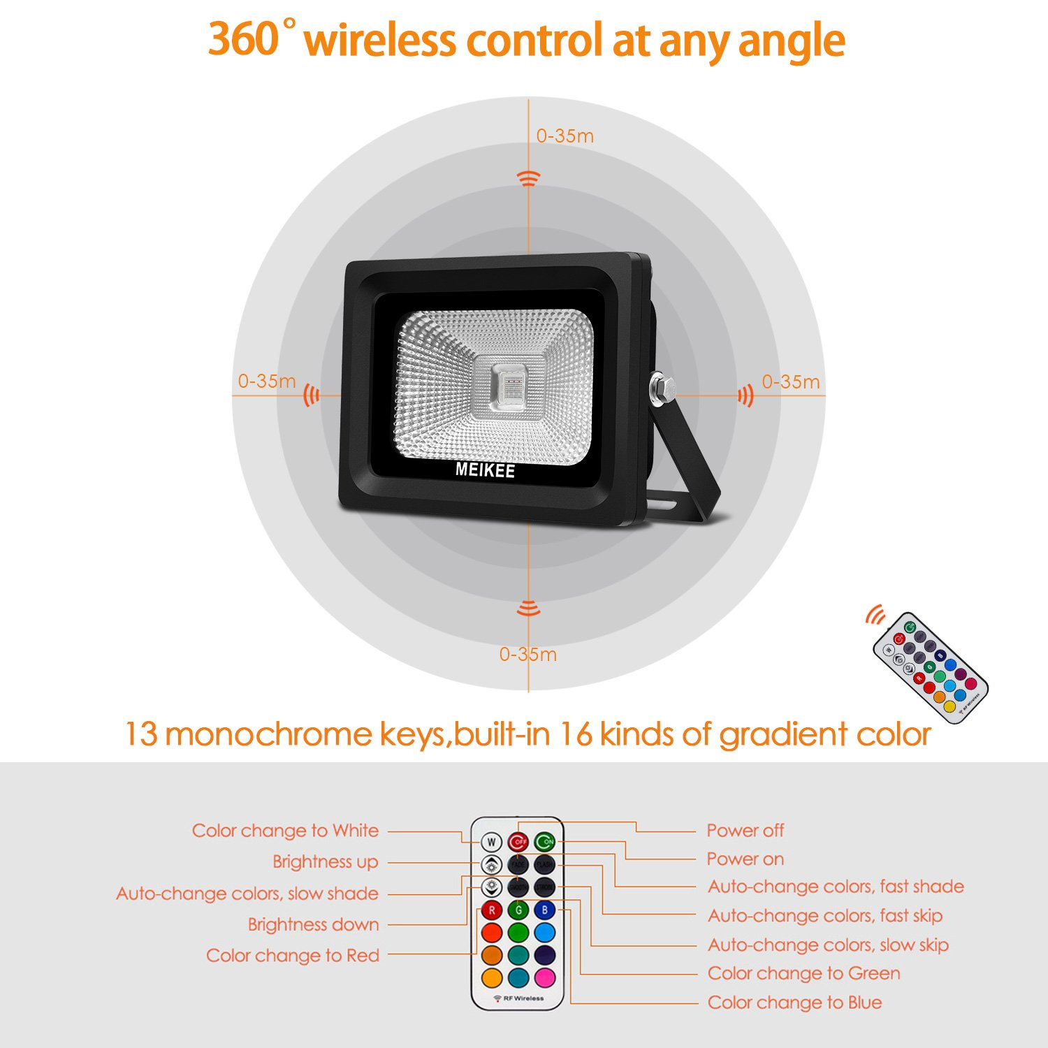 RGB Flood Lights, 10w Colour Changing LED Security Lights, MEIKEE Outdoor Waterproof Floodlight, RF-Wireless Dimmable 16 Colours remote control, Decorate Your Garden, Party.