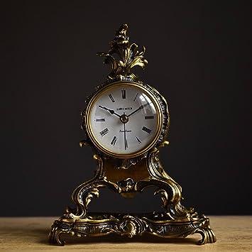 SSBY Chimenea de cobre creativo reloj relojes decorativos Europa mini salón decoración rococó relojes: Amazon.es: Hogar