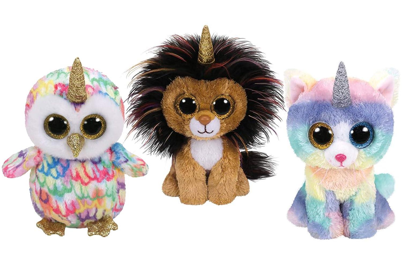 Beanie Boos TY Gift Set Bundle of 3 Includes 6 inch Unicorn Pets - Cat Unicorn, Lion Unicorn and Owl Unicorn FVG Gift Baskets