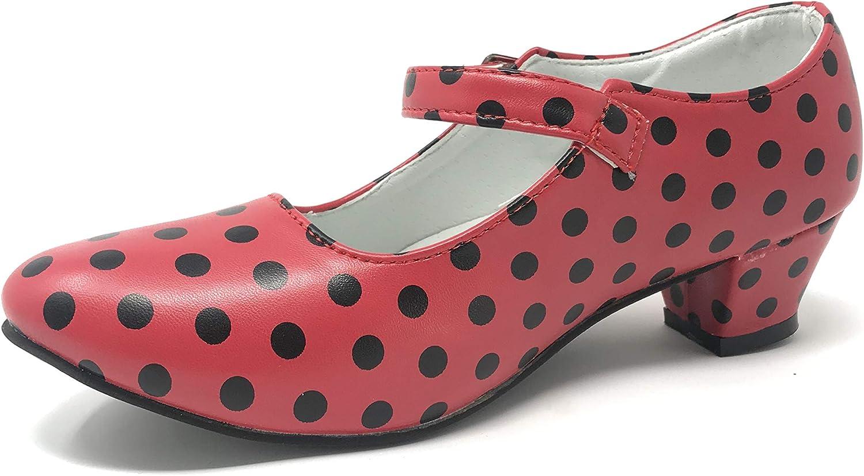 Zapato Flamenco Danza Baile Sevillanas ni/ña Mujer Rojo Rosa Lunares Negros
