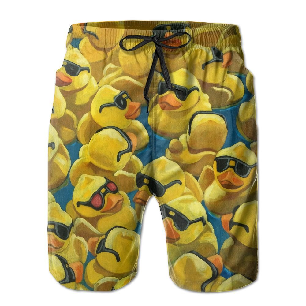 Men's Rubber Duck Painting Fashion Beach Pant Tide Stamp Shorts by Ableelba