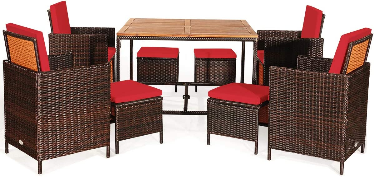 Space-Saving Dining Table with Acacia Wood Tabletop Wicker Chair and Ottoman Sets for Backyard Garden Poolside HAPPYGRILL 9PCS Patio Dining Set Outdoor Dining Furniture Set with Cushioned Seating