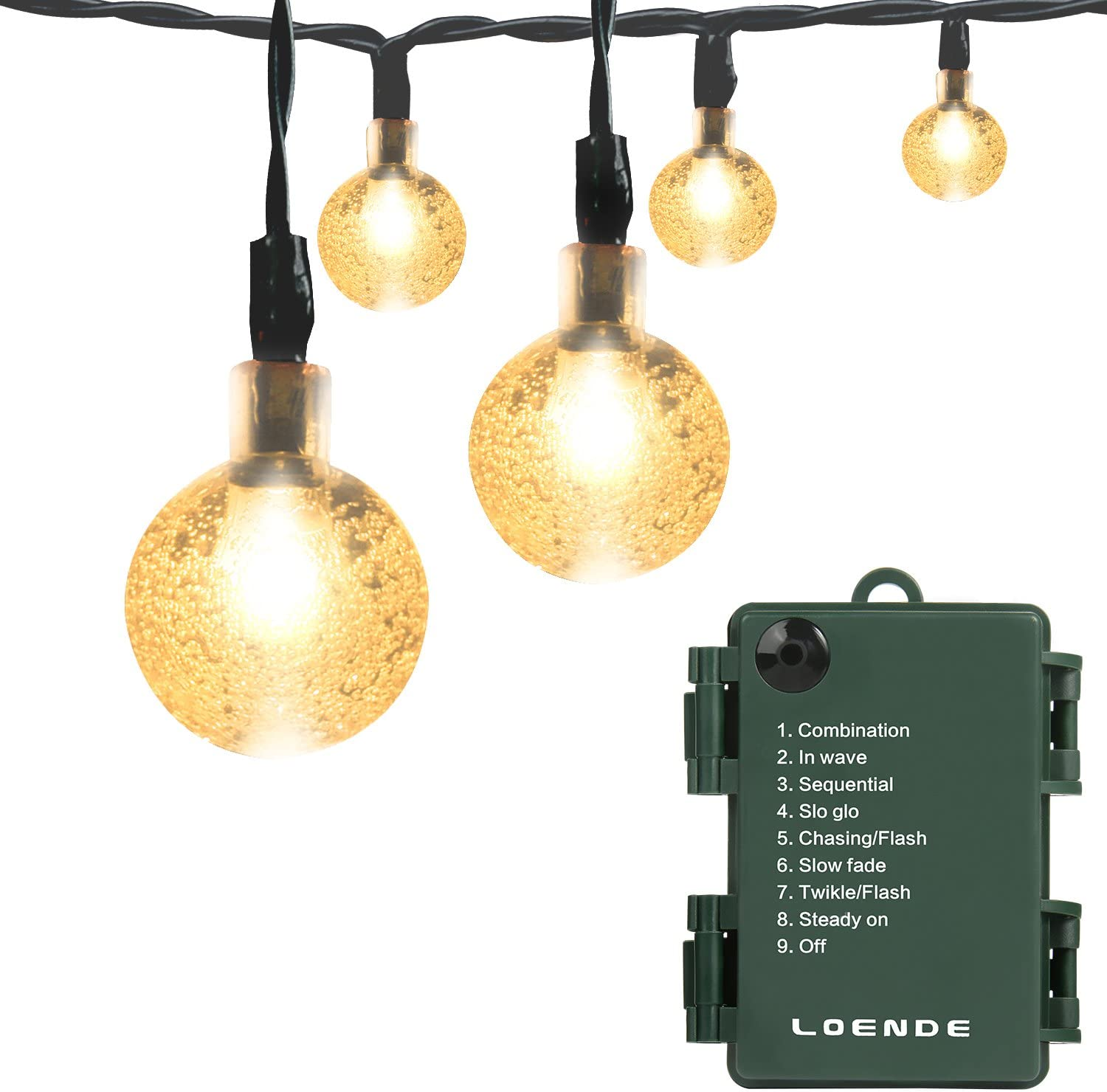 Amazon Com Battery Operated String Lights Loende Waterproof 21ft 30 Led 8 Modes Fairy Garden Globe String Lights With Crystal Ball For Christmas Tree Holiday Outdoor Indoor Party Decor Warm White