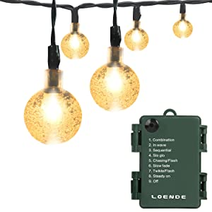 LOENDE Battery Operated String Lights, Waterproof 21FT 30 LED 8 Modes Fairy Garden Globe String Lights with Crystal Ball for Christmas Tree, Holiday, Outdoor, Indoor, Party Decor (Warm White)