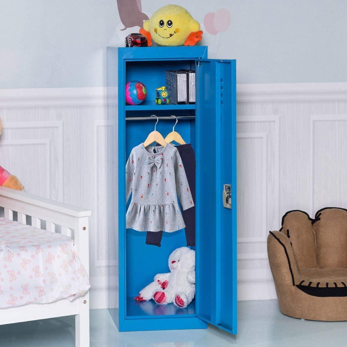 Blue Single Tier Metal Locker HONEY JOY 48 Kids Storage Locker Lock and Key Safe Storage