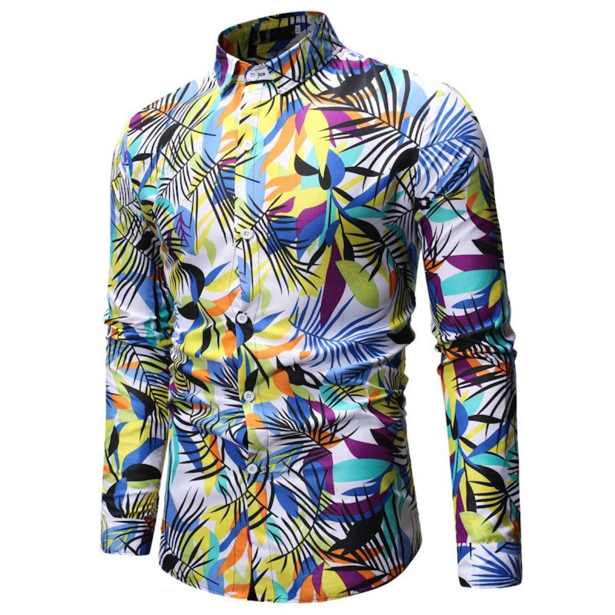 Men's Fashion Hip Hop Dress Shirt Long Sleeve Lapel Floral Print Slim Fit Casual Button Shirt Tops Fmeijia White by Fmeijia (Image #4)