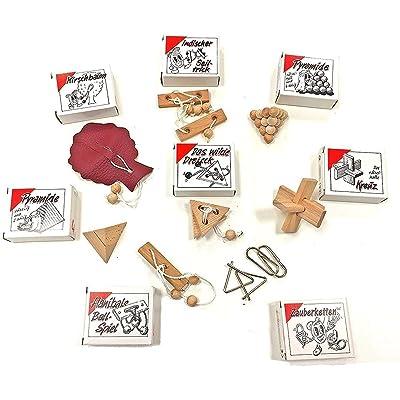 8 Casse-Têtes - populaire petit jeux de patience en bois, cuir et métal