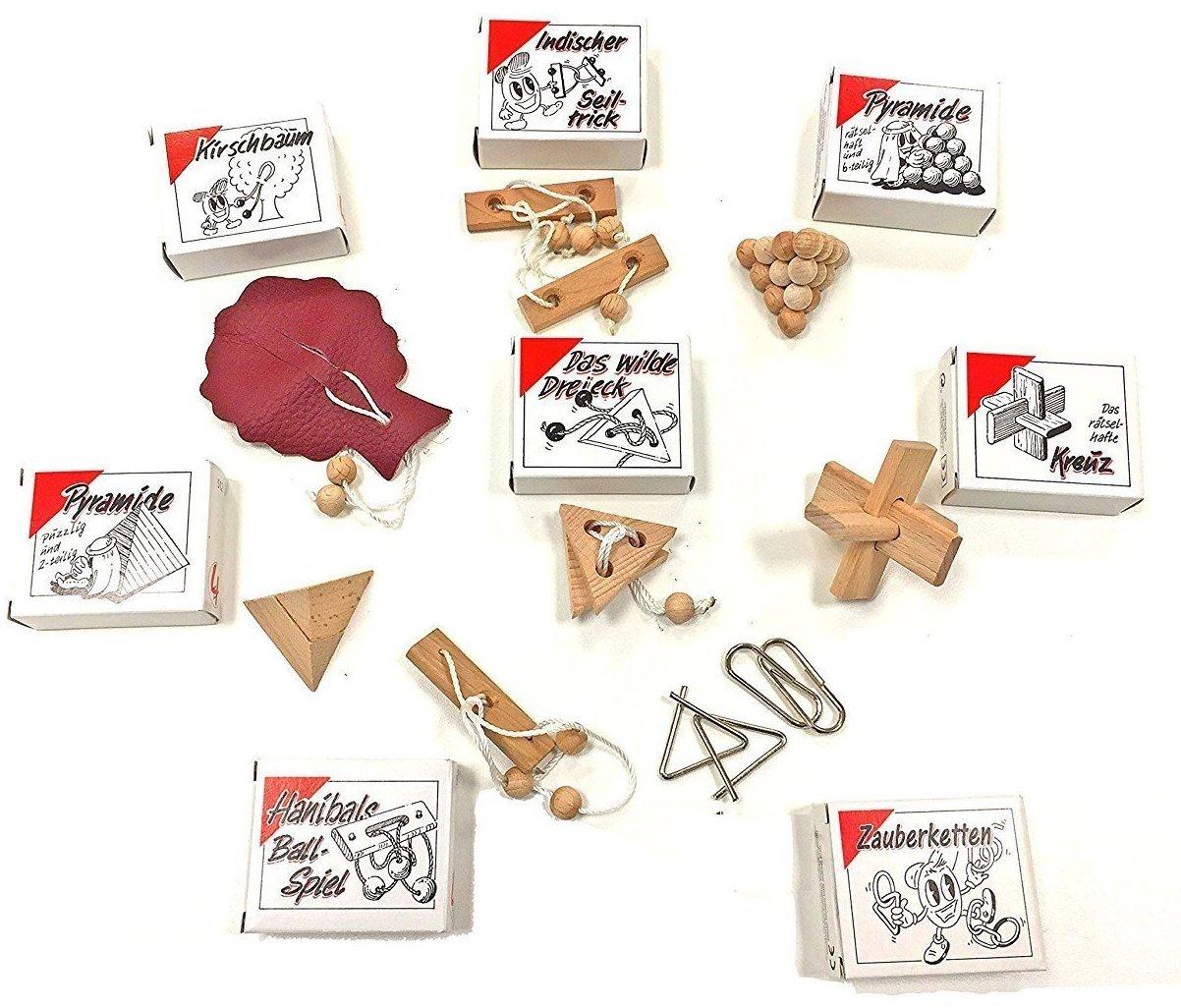 Knobelspiel Klassiker Sets - diverse Mitgebsel - Spiele einzeln verpackt incl Lösung - Geduldspiele Geschicklichkeitsspiele Puzzlespiel Knobelspiele Set Rätselspiele Adventskalender Inhalt (16-er) Gico v16s
