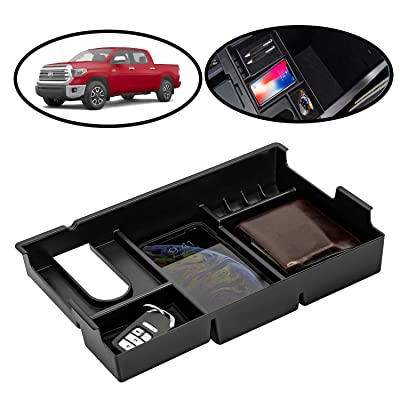 lebogner Center Console Half Storage Tray Organizer Compatible with Toyota Tundra, Armrest Console Secondary Accessories Box with 3 Compartments and 1 Coin Holder, (2014-2020 All Models): Automotive