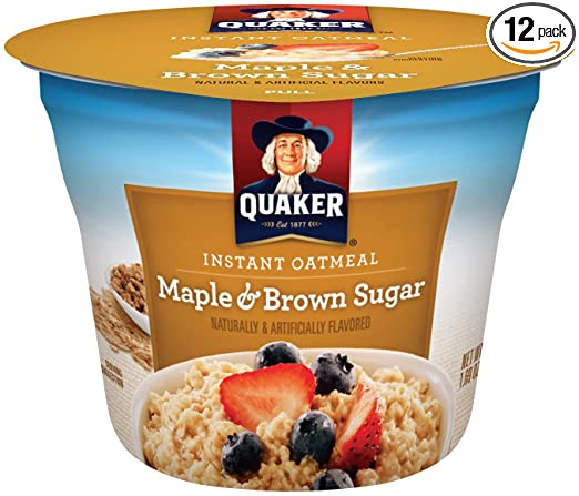 Quaker Instant Oatmeal Express Cups, Maple Brown Sugar, Breakfast Cereal, 1.69 oz Cups (Pack of 12)