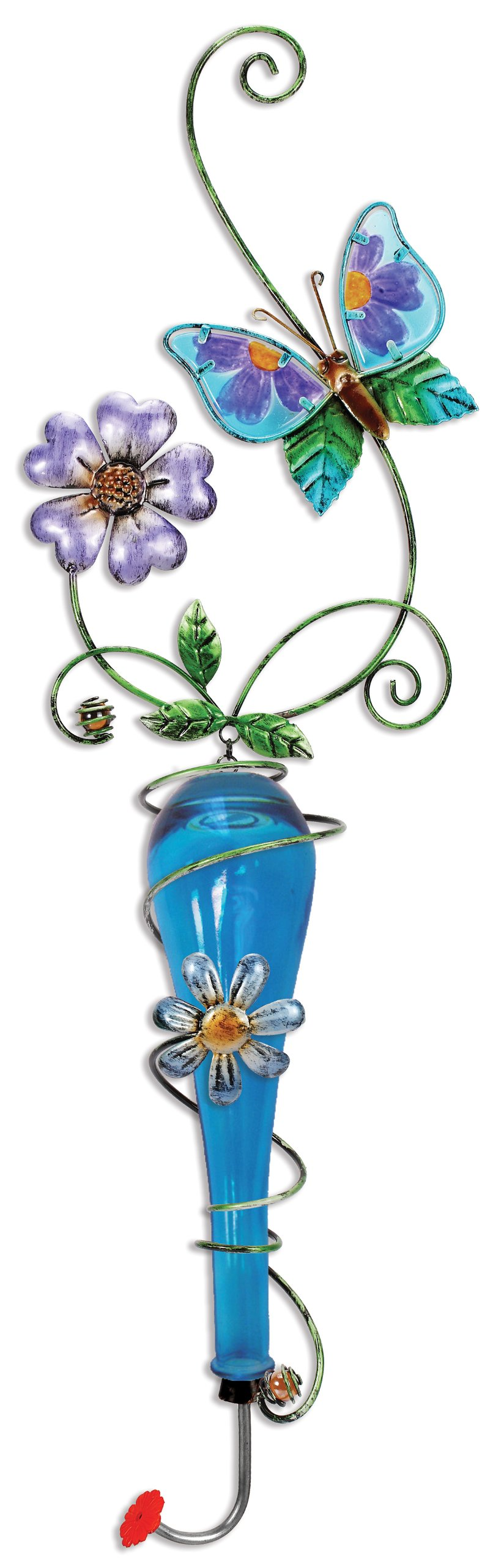 Sunset Vista Design Studios Colored Glass and Metal Hanging Hummingbird Feeder, Butterfly