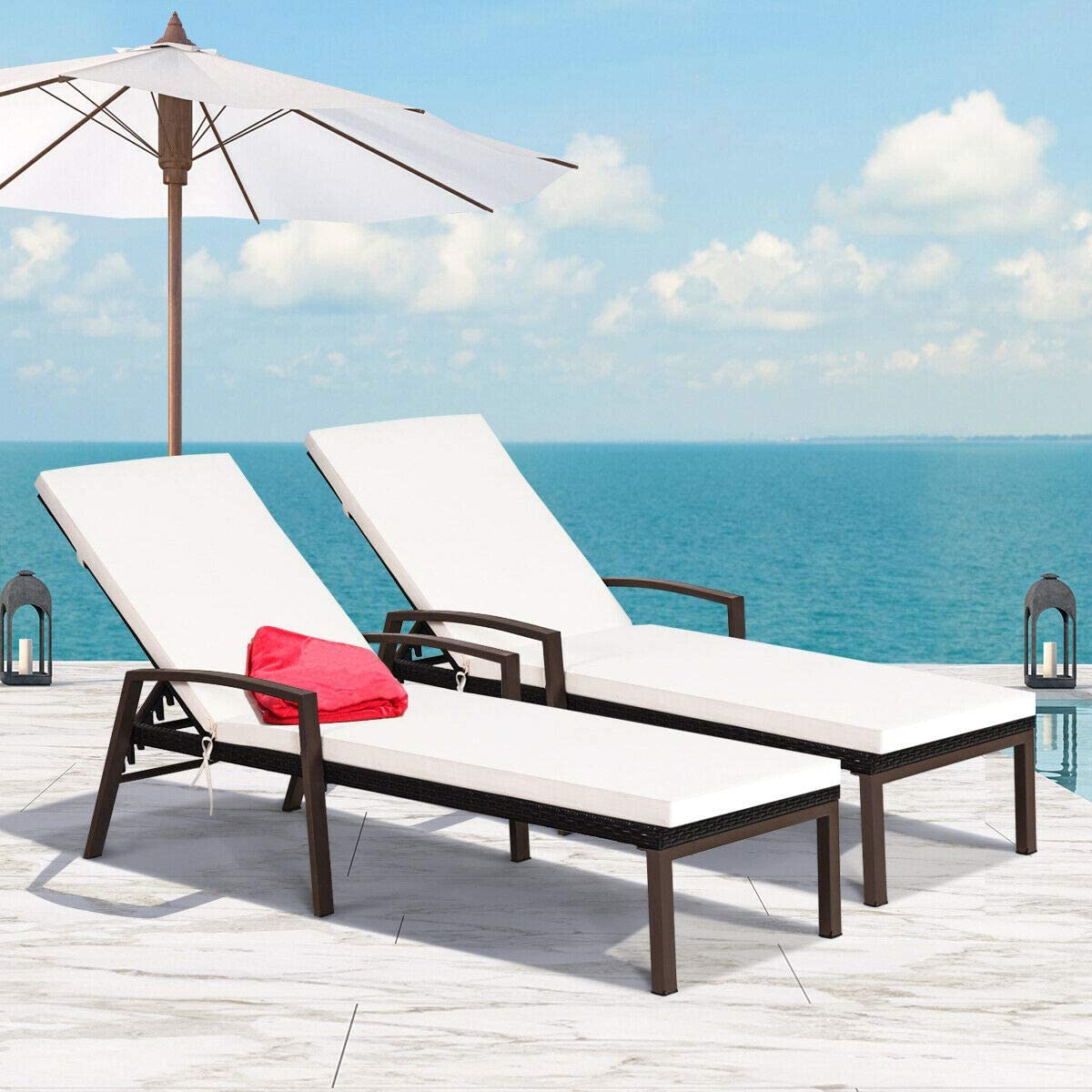 Happygrill Patio Reclining Chaise Lounge 2pcs Outdoor Rattan Wicker Lounge Chair Set with Armrest and Cushions