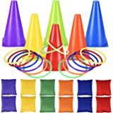 Alyoen Carnival Toss Games Combo Set, 30PCS Outdoor Plastic Cones Bean Bag Ring Toss Games for Kids/Children Party