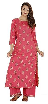 d4ebc29ea89 Dee Desi Women s Wear Rayon Gold Print Gota Lace Work Straight Kurta  Palazzo Set (Gajri 38