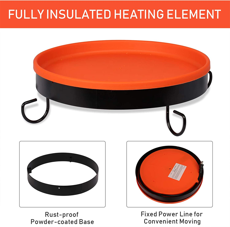 Metal Stand and Mounting Bracket vantiorango Upgraded Heated Birdbath for Outdoor 75 Watt 14 Inch All Season Heated Bird Bath Deck Bowl with 3 Way to Mount