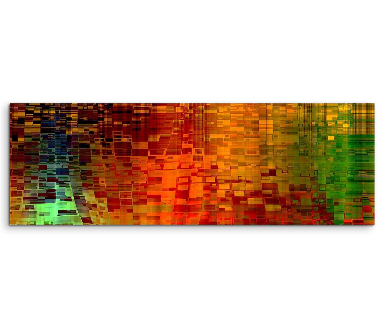 Paul Sinus Art 150 x 50 cm Tela su Telaio Arte Sfondo Astratto Pixel Rosso Verde Giallo Quadro su Tela Come Panorama