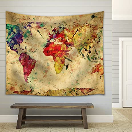 Amazon.com: Wall26 A Map of the World in Water Colors on a Vintage ...
