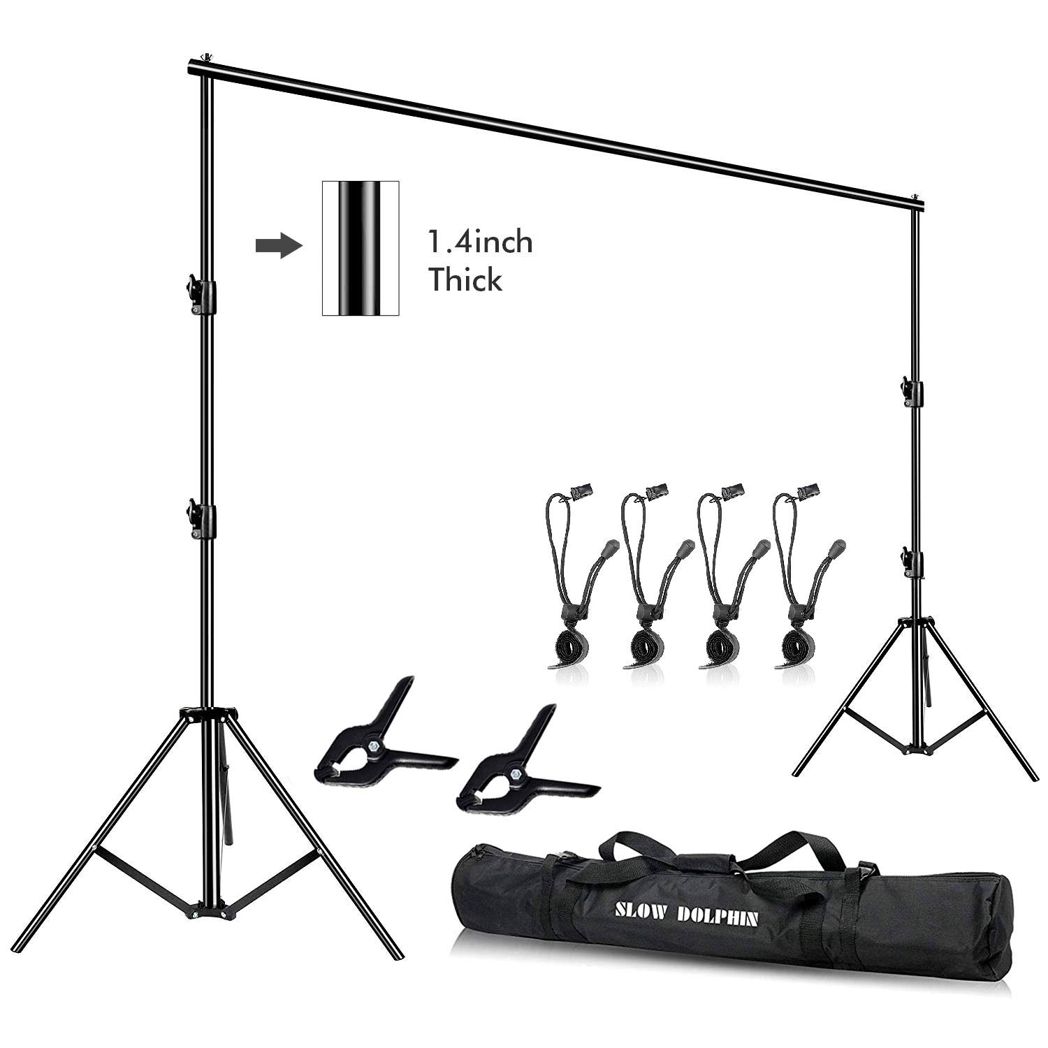 Slow Dolphin Photo Video Studio 12ft (W) x 10ft (H) Heavy Duty Adjustable Photography Backdrop Stand Background Support System Kit with Carry Bag by SLOW DOLPHIN