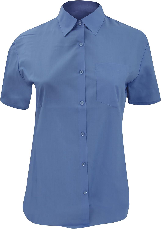 Russell Collection- Camisa de Manga Corta de popelín y poliéster/algodón de fácil Cuidado para Mujer
