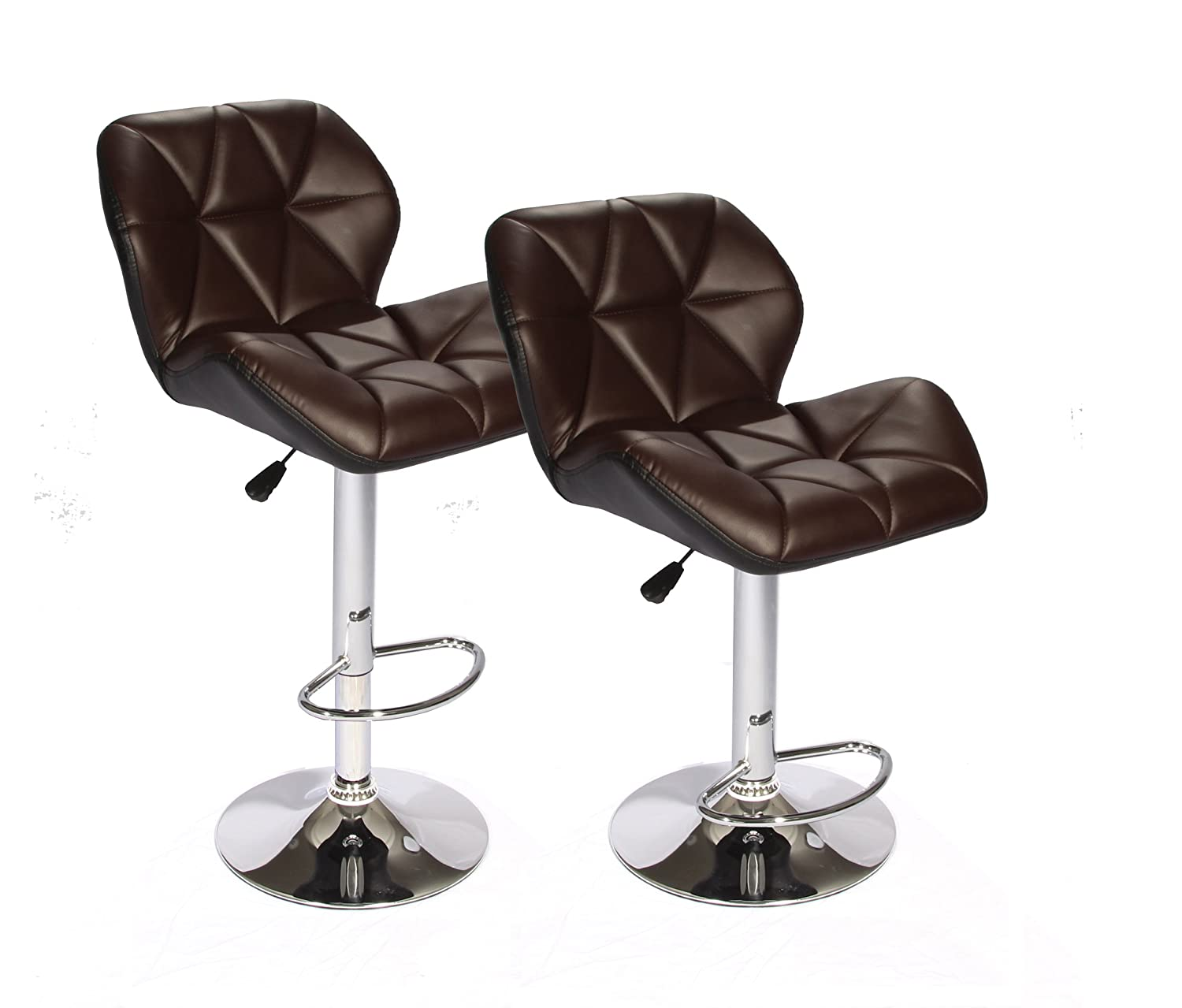 Amazon.com: SET of (2) Brown Bar Stools Leather Modern Hydraulic ...