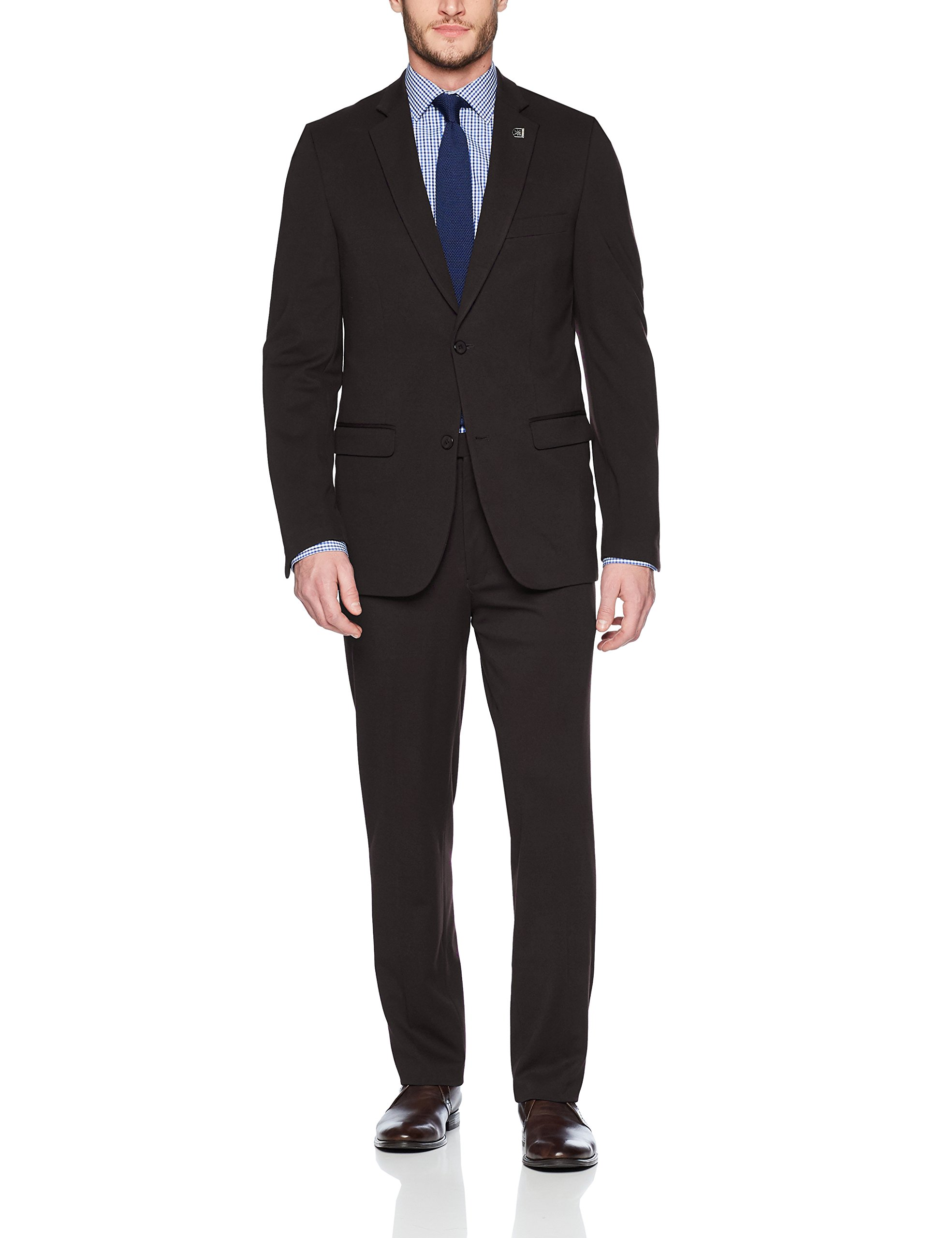 STACY ADAMS Men's Big and Tall Single Breasted Real Flex Stretch Fabric Suit, Black, 50 Regular