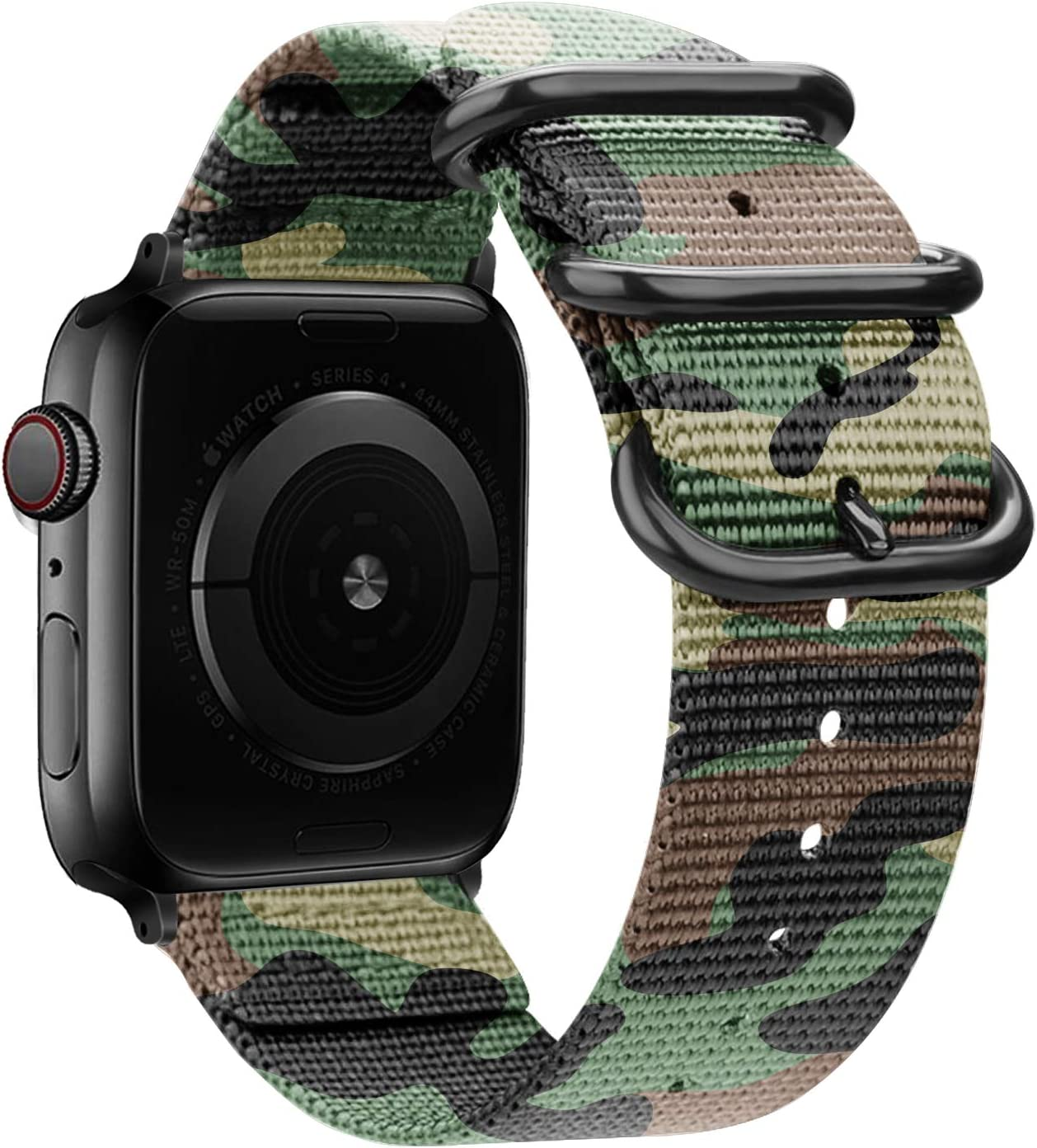 YOUKEX Soft Nylon Band Compatible with Apple Watch Band 38MM 40MM, Lightweight Breathable Sport Wrist Strap with Metal Buckle Compatible with iwatch Series 6/5/4/3/2/2 SE (38mm/40mm,Camouflage Green)