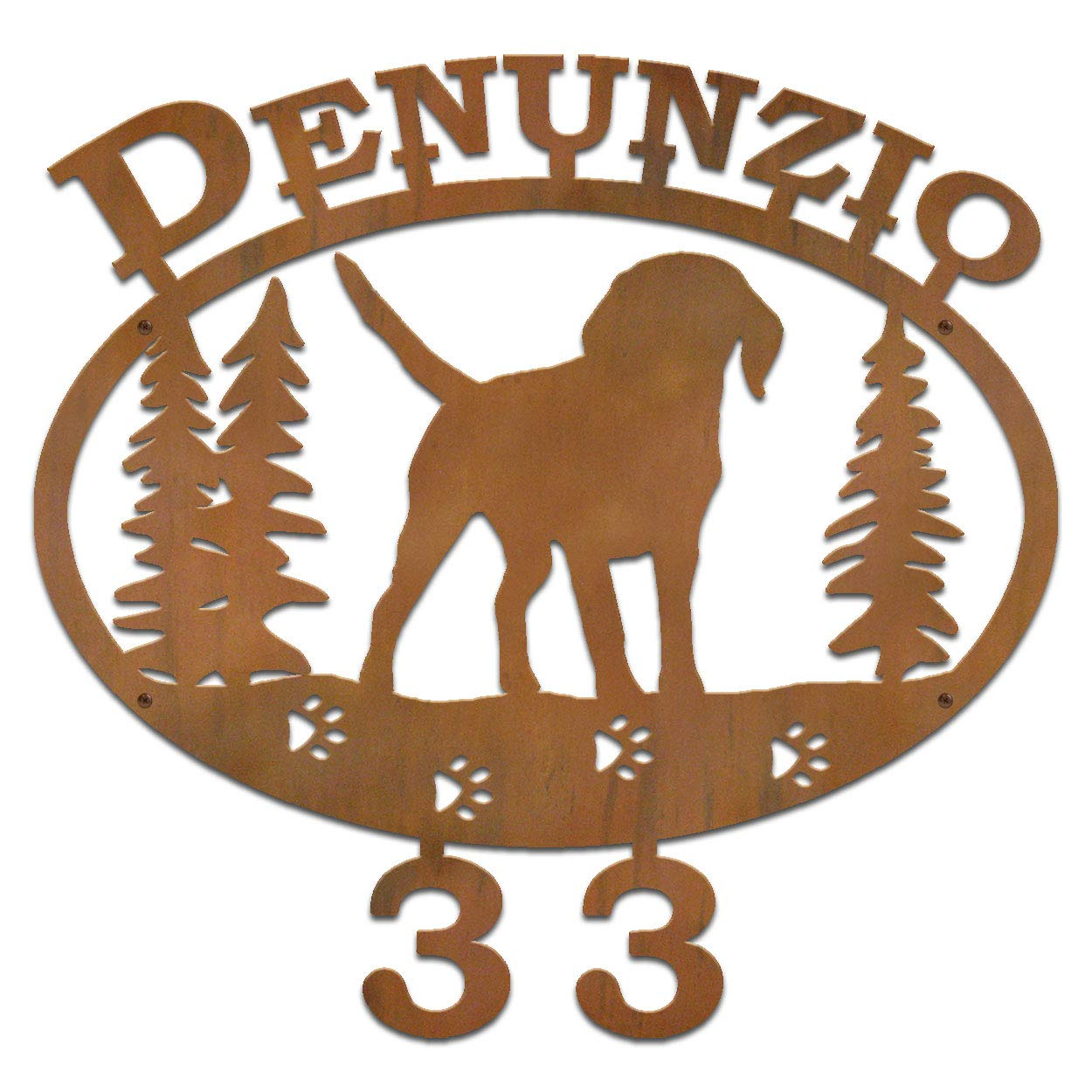 Cold Nose Creations Beagle Dog Breed 22in Oval Steel Custom Address Name and Numbers Sign - Rust Metal Finish - Made in USA