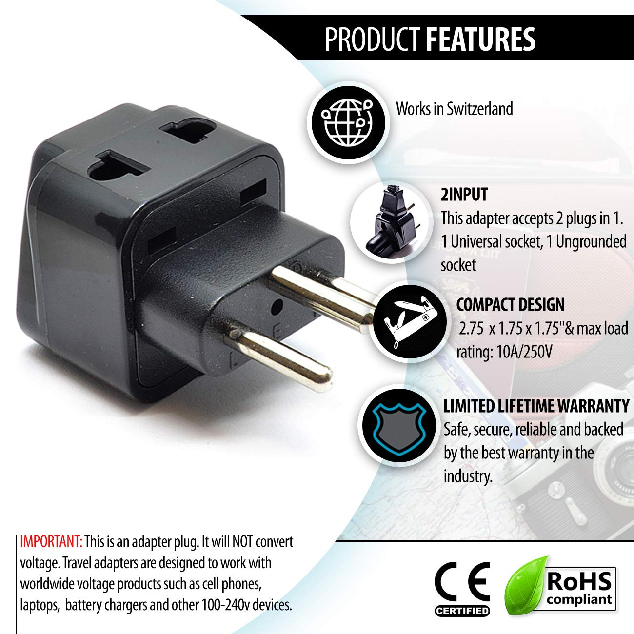 Switzerland Power Plug Adapter by OREI, 2 in 1 USA Grounded Connection -  Universal Socket - Type J - 4 Pack - Perfect for Cell Phones, Laptops,