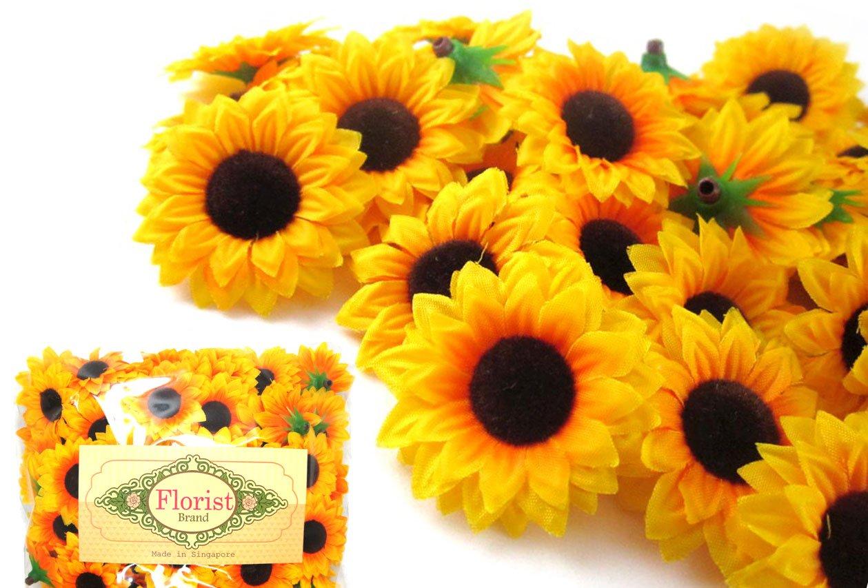 100-Silk-Yellow-Sunflowers-sun-Flower-Heads-Gerber-Daisies-15-Artificial-Flowers-Heads-Fabric-Floral-Supplies-Wholesale-Lot-for-Wedding-Flowers-Accessories-Make-Bridal-Hair-Clips-Headbands-Dress-by-Fl