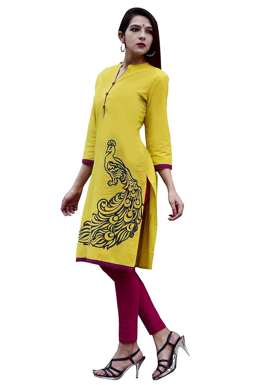 Vihaan Impex Indian Kurti Damen Lange Kleider lang indische Tunika VIKU5027