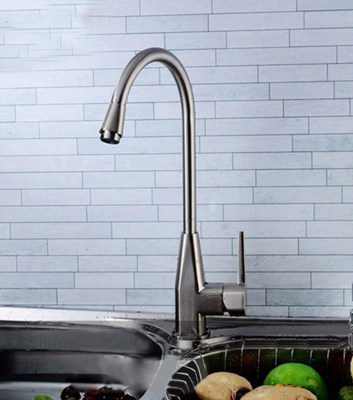 LaLF Basin Tap European Kitchen hot and Cold Water Faucet, Stainless Steel Mixer tap