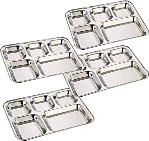 Khandekar Pack of 4 Stainless Steel Lunch Plate, 5 Compartment Thali, Food Divided Plates, Dinner Plate Set, Mess Tray, Kids Lunch Plate for Toddlers, Outdoor Camping and Everyday Use - 33 cm, Silver