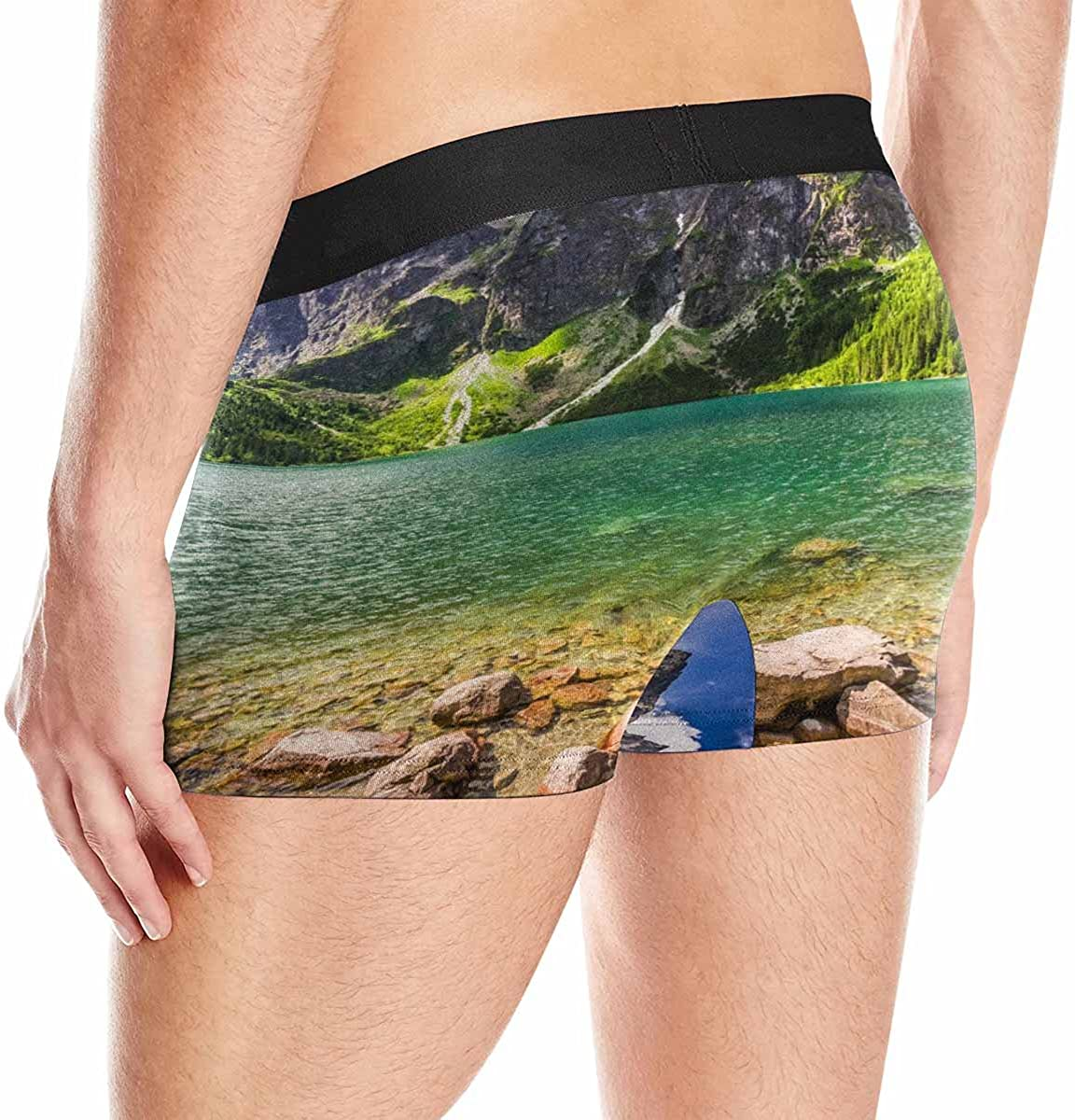 INTERESTPRINT Custom Mens Boxer Briefs Lake in The Middle of The Mountains at Sunrise XS-3XL