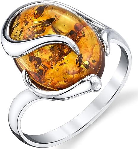 bague en argent avec ambre