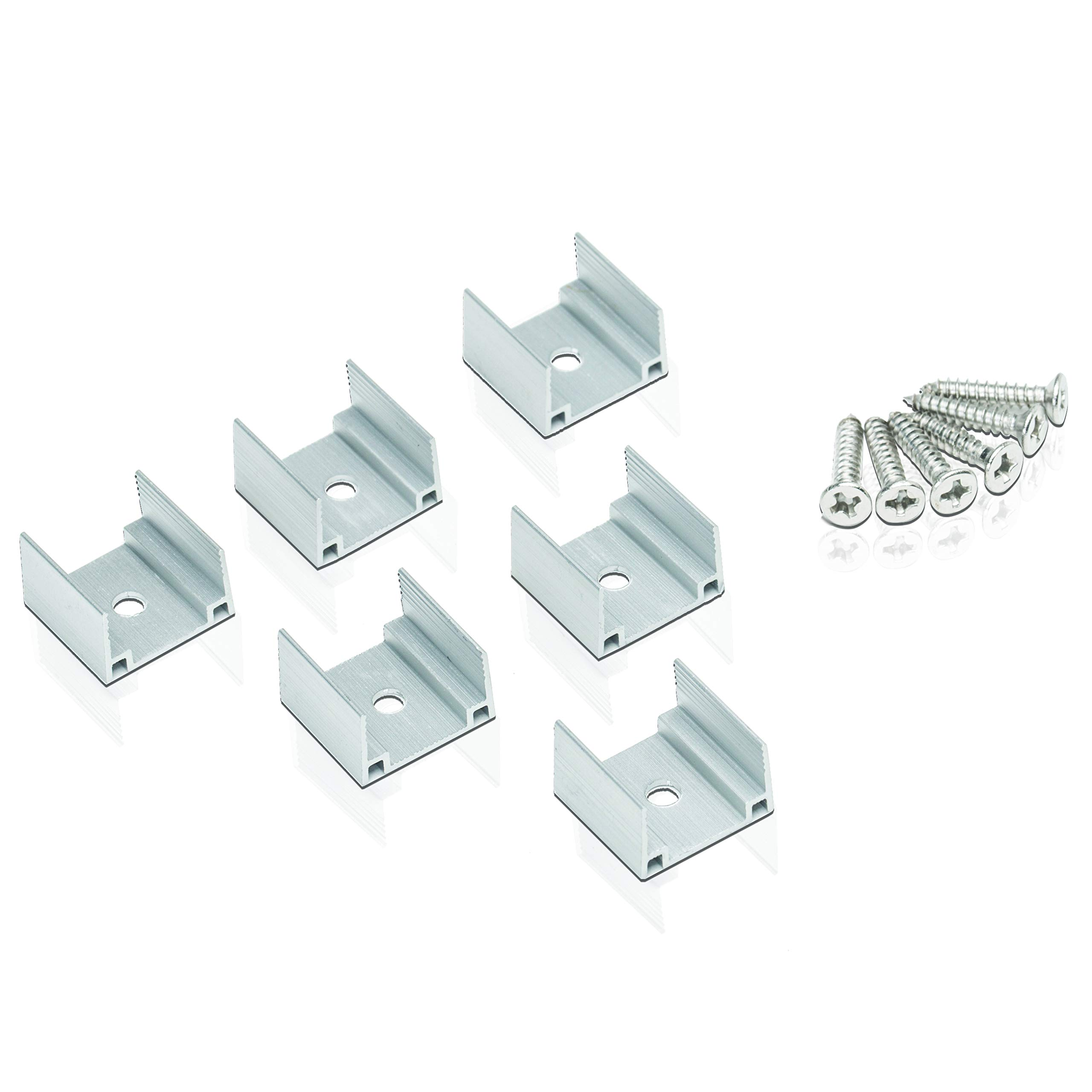 0.5'' Segments of Aluminum Extrusion U-Channel for Use with Lumilum 120V LED Strip LUM-120505 Models - 6 Pack