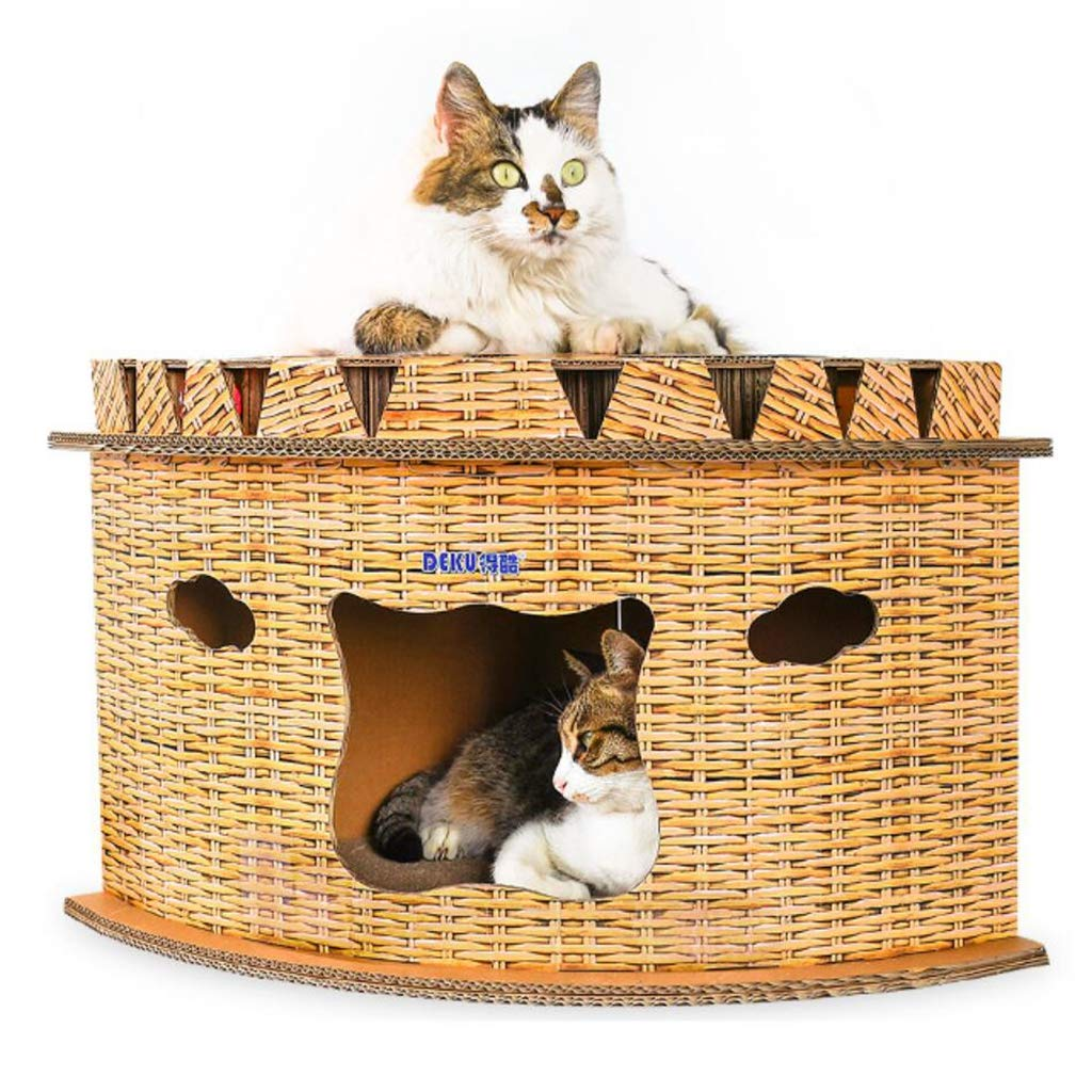 Corrugated Paper Cat Scratch Board Semicircle Design Cat Climbing Frame Corner Cat Litter House With Bell Cat Jumping Platform
