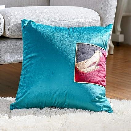 Fantastic Velvet Throw Pillows For Couch Sofa Bed Oil Painting Style Decorative Square Accent Cushion 17X17 Green Inzonedesignstudio Interior Chair Design Inzonedesignstudiocom