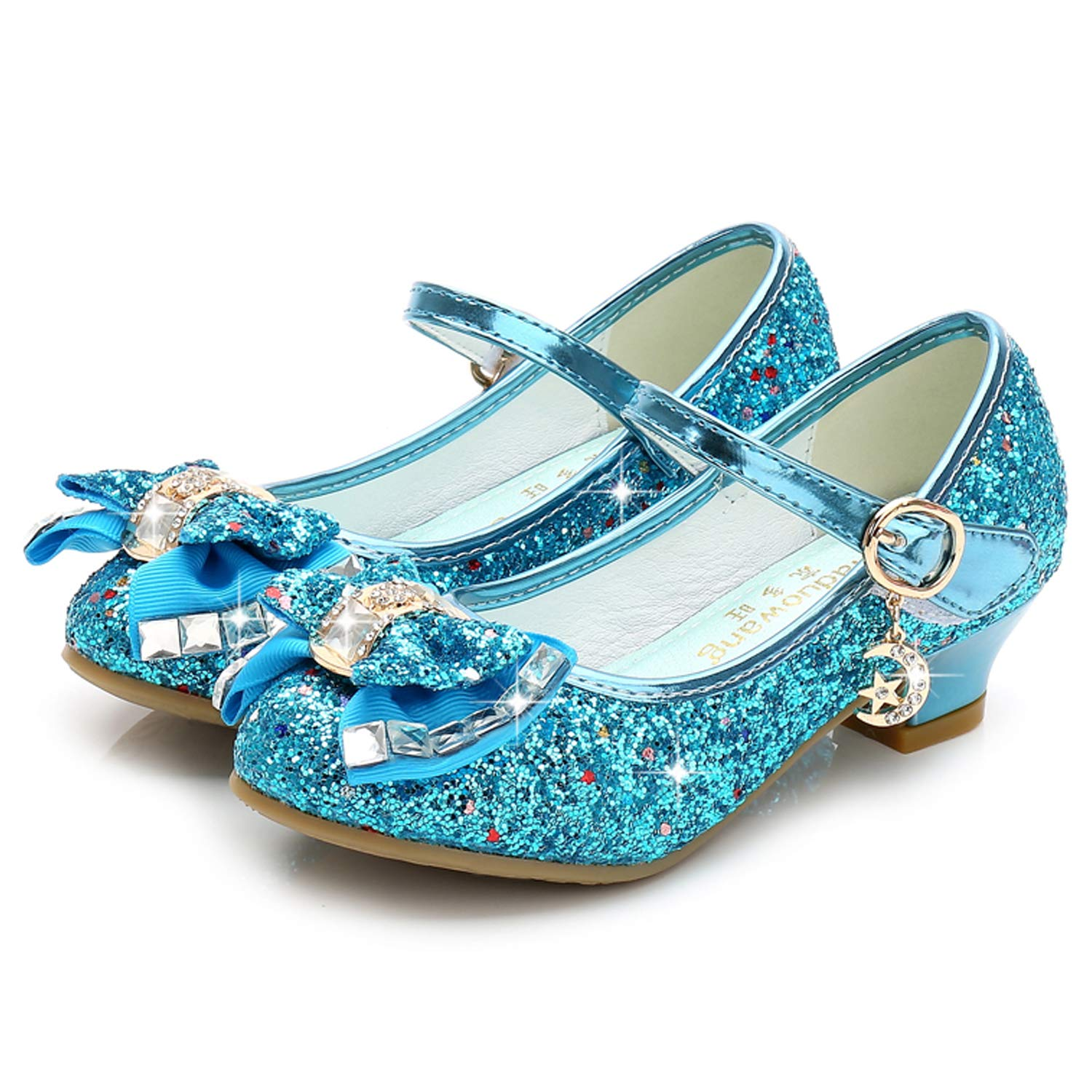 c6570bd2a198 Waloka Blue Mary Jane Glitter Shoes for Girls Size 13 Wedding Party Wear  High Heels Shoes for Girls Wedding 8 Yr Cosplay Low Heeled Princess Little  Kid ...