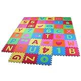 PRINZBERT Buchstaben Zahlen Puzzlematte 45 Matten 114tlg Puzzleteppich Kinder Spielmatte Spielteppich Schaumstoffmatte rutschfest Lernteppich schadstofffrei Spielfläche Lerneffekt ABC Puzzle Moosgummi