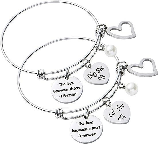 girls daughter big sister niece friend CHOOSE message initial charm bracelet
