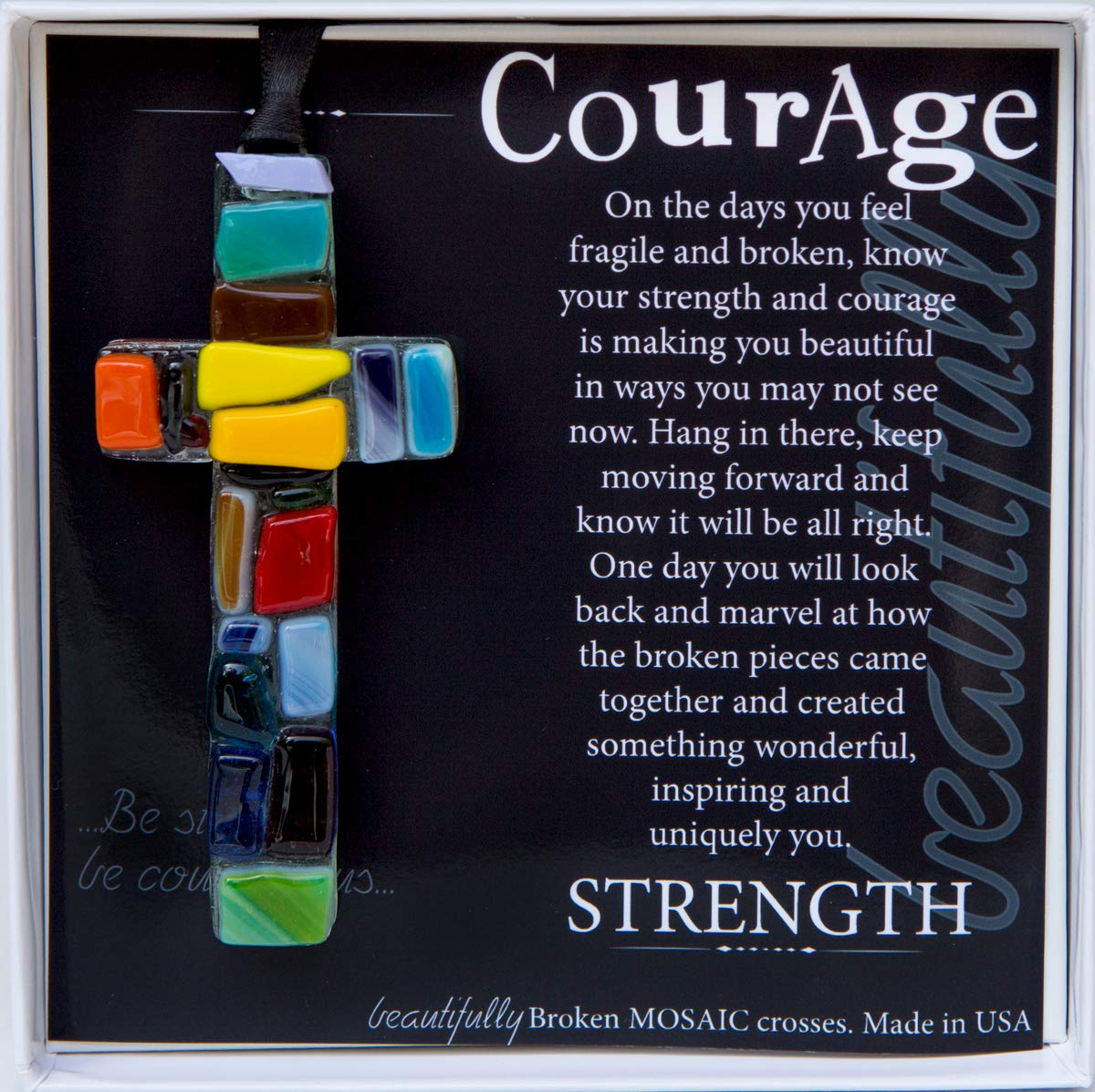 Handmade Glass Mosaic with Courage Poem - Inspirational Get Well Soon Gift for Cancer Patients/Encouragement Gift for Hard Times