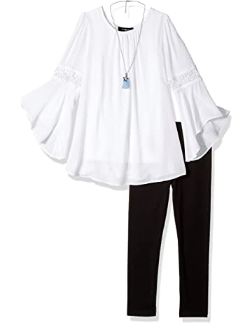 bc244b4888deb Amy Byer Girls' Big Bell Sleeve Top and Leggings 2-Piece Set with Necklace