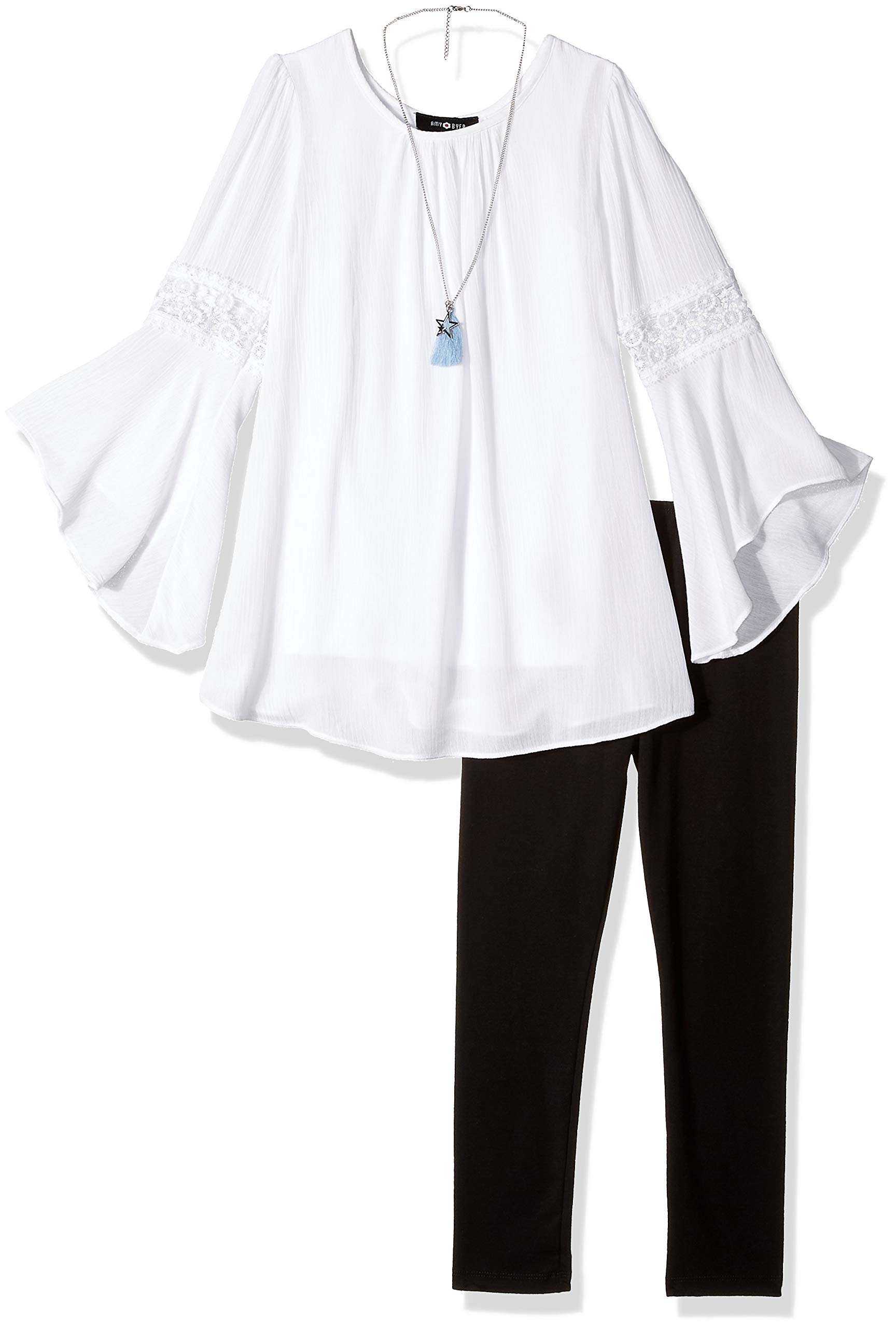 Amy Byer Girls' Big Bell Sleeve Top and Leggings 2-Piece Set with Necklace, White S by Amy Byer