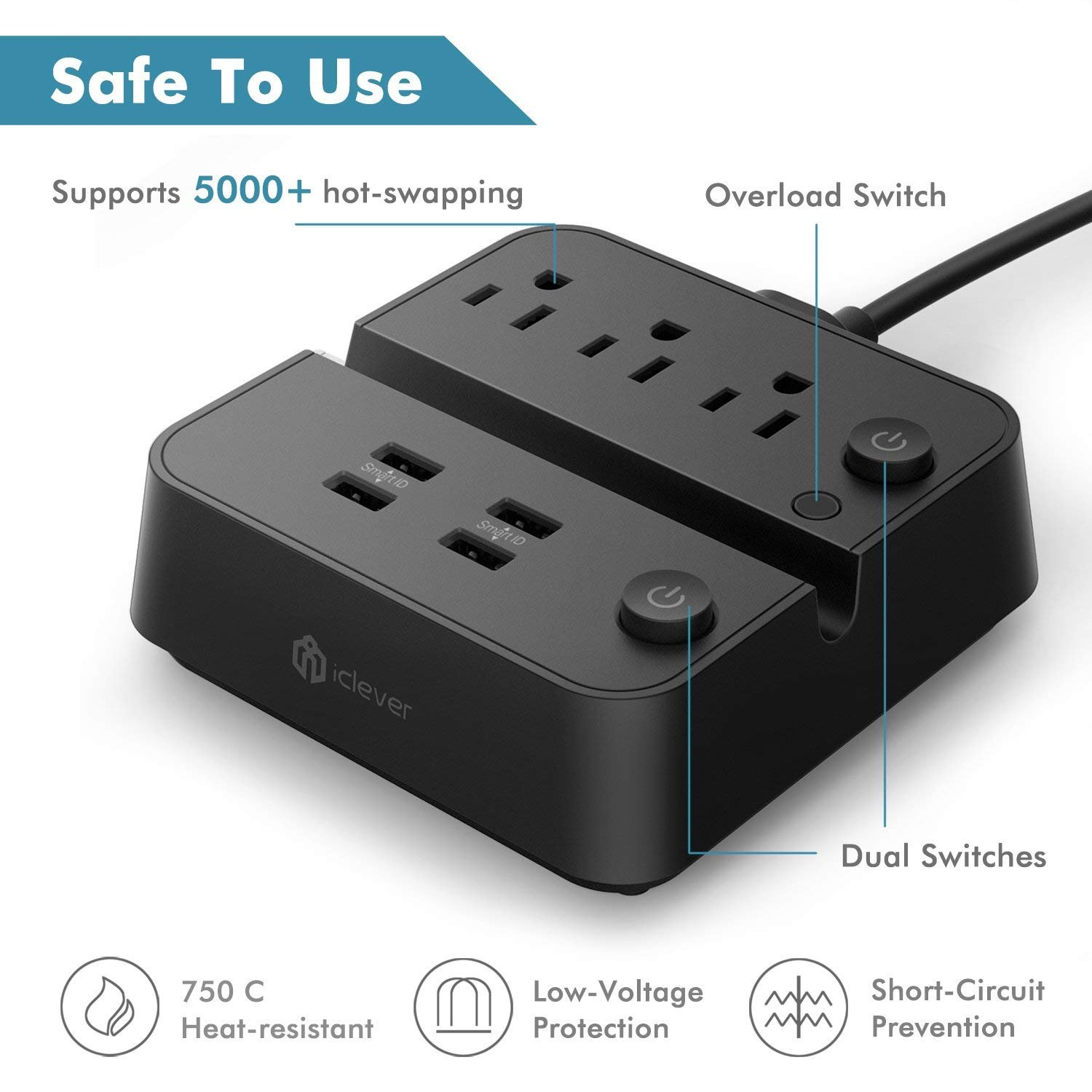 3 Outlets 3 USB Ports Charging Station with Over-Load Switch and Phone//Tablet Holder 5ft Extension Cord-Black IC-BS12 iClever USB Power Strip Surge Protector