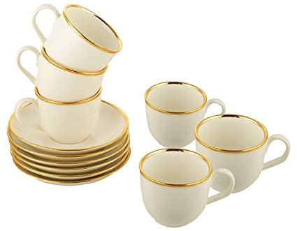 Tea Cup Saucer Set Hot & Cold Ceramic Cup & Saucer for Coffee & Tea Set of  6 (Off-White)