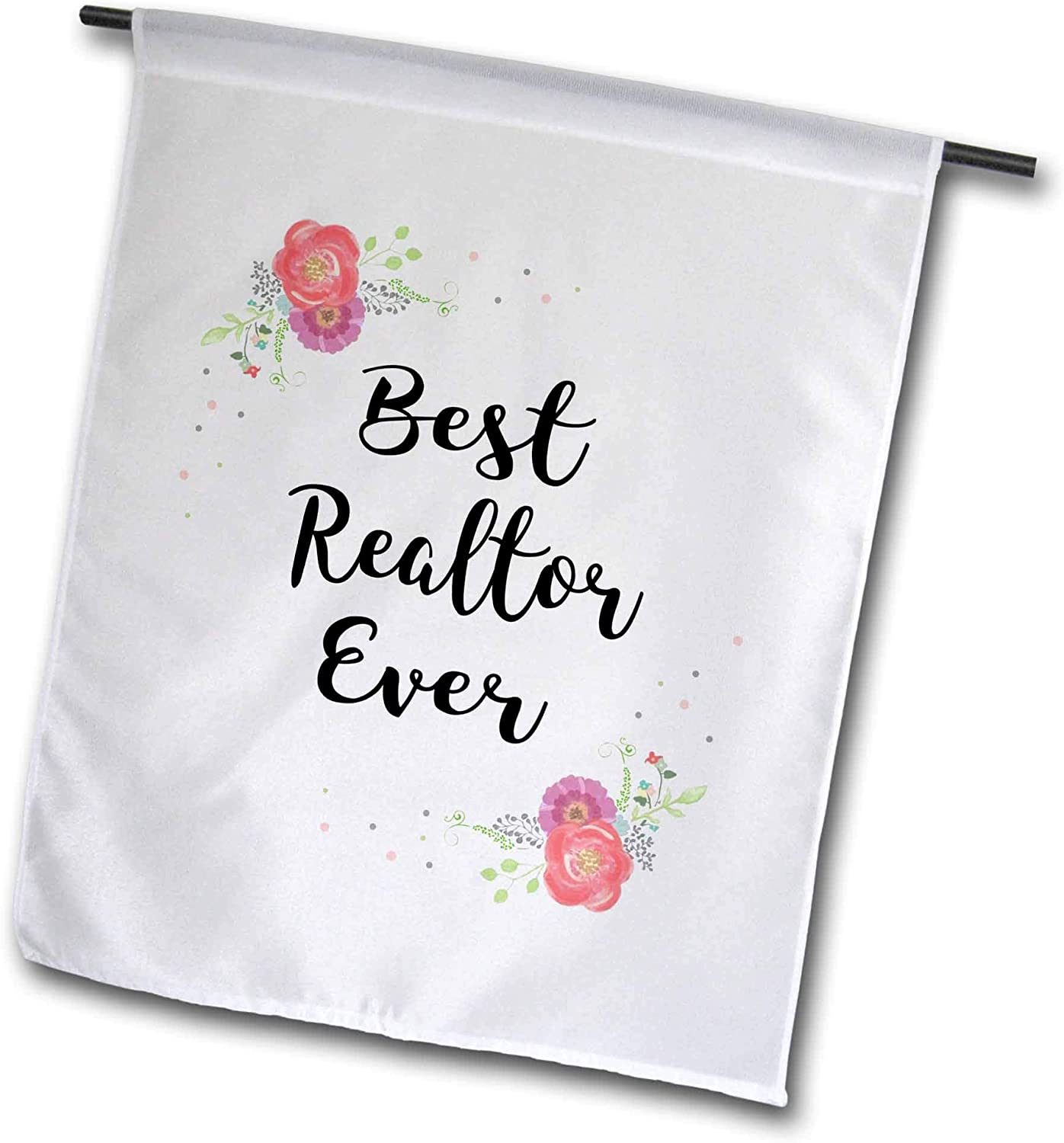 3dRose InspirationzStore - Love Series - Floral Best Realtor Ever Watercolor Pink Flowers Real Estate Work Job - 12 x 18 inch Garden Flag (fl_317289_1)