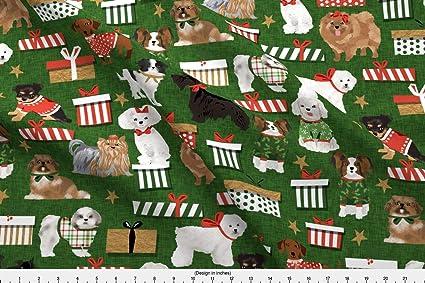 spoonflower christmas fabric christmas dog dog breed toy dogs christmas fabric dog breed fabric vintage - Vintage Christmas Fabric