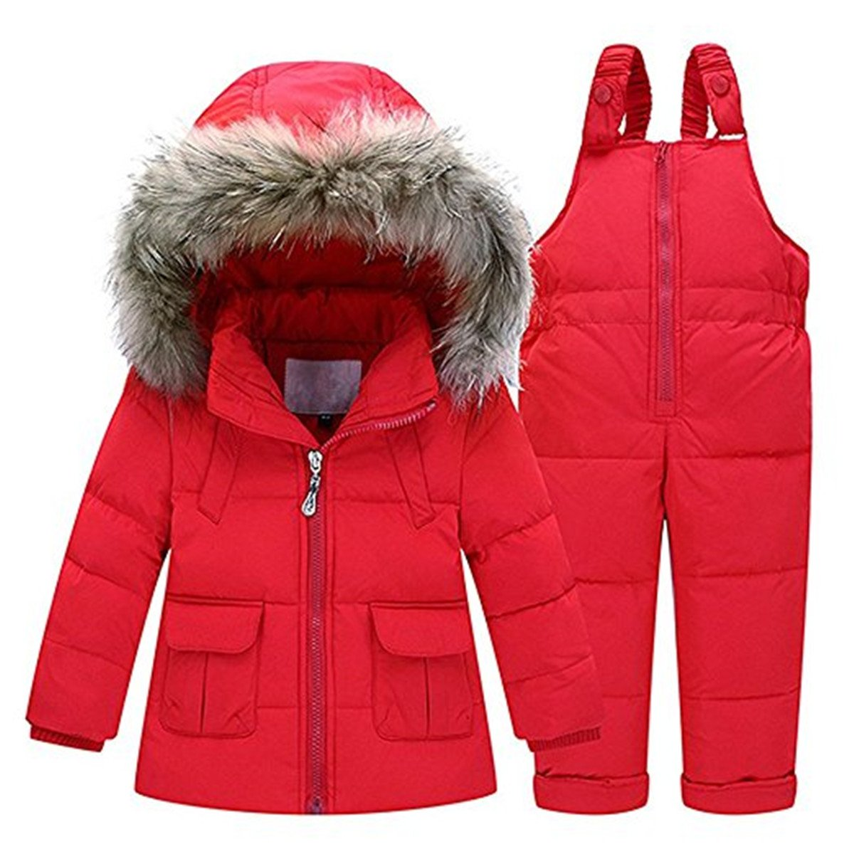 Baby Girls Two Piece Winter Warm Hooded Fur Trim Snowsuit Puffer Down Jacket with Snow Ski Bib Pants Outfits by JELEUON
